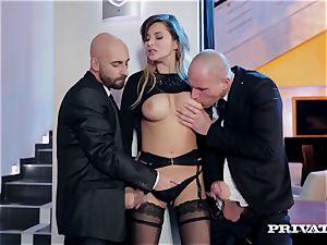 Anna Polina takes care of 2 horny boys