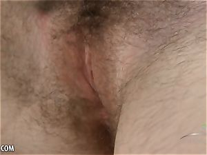 Up Close as Cyan fucktoys her hairy poon