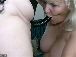 OldNannY big-titted plus-size gals liking With strapon