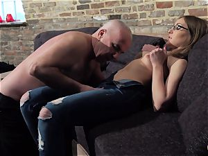 grandfather gets fuckpole bj'ed and moist handsome lil' girl