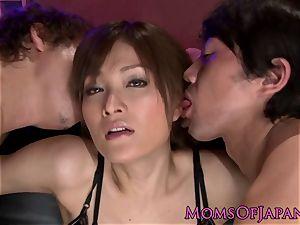 Oriental milf Rin Ninomiya takes a giant knob in her snatch