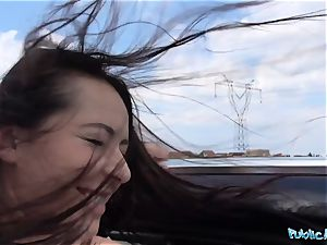 PublicAgent steaming ebony haired Russian smashed on a car
