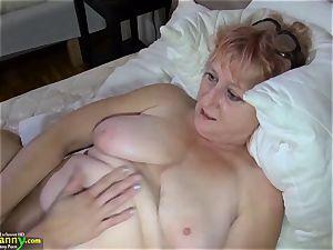 OldNanny dark-haired mature demonstrates her undies