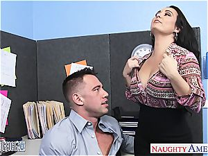 big-chested black-haired Holly West rail pecker in the office