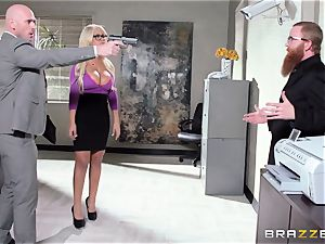 Bank robbing babe Bridgette B boinks in front of the manager