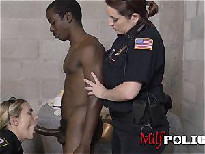 Shady pimp is taken to individual spot where mummy cops make him ravage them