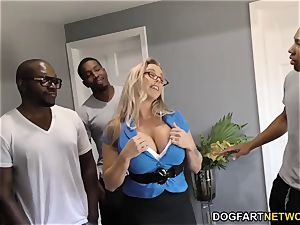 Amber Lynn Bach gets gang-fucked and creampied by BBCs