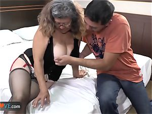 AgedLove cute older brown-haired is liking man