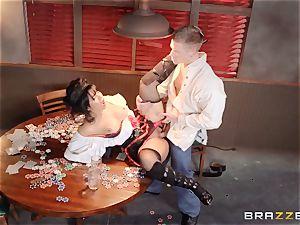 Saloon honey Rose Monroe takes it throughout table