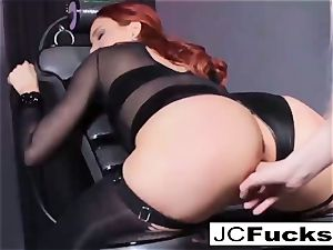 Jayden is penetrated by Samantha's strap-on