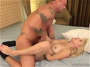 Vallerie white inhales a immense man meat and Has feet jizzed on