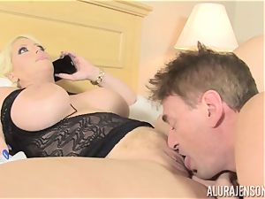 biz nymph Alura Jenson makes her employee lick out his own spunk out of her cootchie