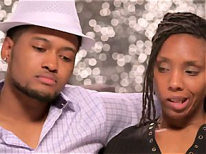 black couple finds a drama free lady to have a super-steamy three-way