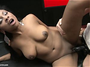 harsh Kathia Nobili thrusts her cord on chisel deep down her counterpart jaws