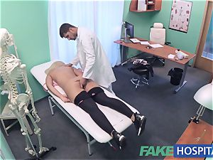 FakeHospital huge-chested Russian babe guzzles cumload