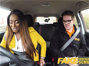 fake Driving school scorching ebony Jai James with humungous boobies
