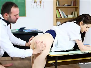 crazy college girl in microskirt gets her slender caboose poked by her instructor