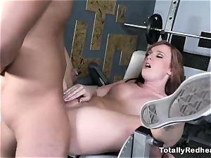 red haired ditzy gets drilled stiff in the gym