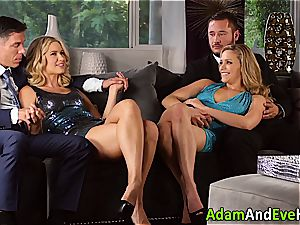 erotic couple and jizz exchange with hot blondes