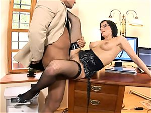 secretary Renata boinked in dark-hued fishnet stockings