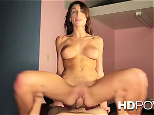 HD pov super-steamy brown-haired with immense udders loves to bounce manmeat