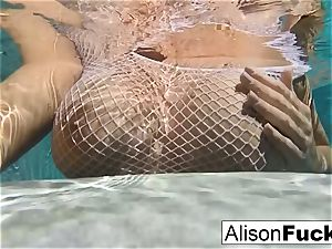 big-chested Alison Tyler takes a bath and paws herself down