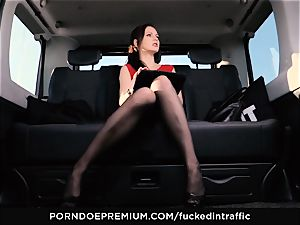 drilled IN TRAFFIC Tina Kay footjob in the backseat