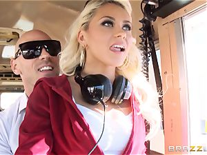 mischievous hitchhiker Marsha May penetrating red-hot bus driver
