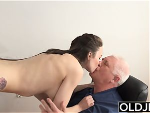dame screwed by old guy Office fellate blowage