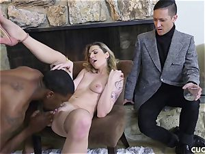 dark-hued fellow pulverizes his manager trampy wife Dahlia Sky