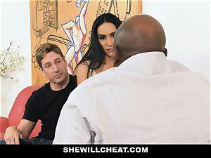 SheWillCheat - hot wife With giant Rack enjoys ebony meatpipe