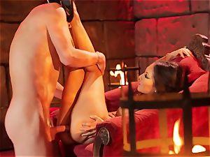 Asa Akira gets her super-hot lips round a immense long wood