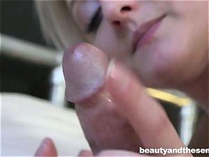 Platinum blondie bombshell Katy Rose take an senior pecker