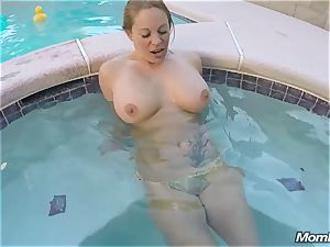 Pool boy assfuck pulverizes a huge-boobed cougar in her Backyard