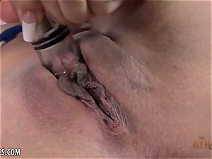 Michelle Martinez greases up her clittie and plays with it