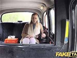 fake taxi Nurse in killer underwear has car hookup