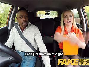 fake Driving college lengthy dark-hued cock pleases blond