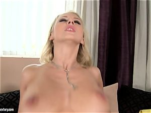 Mandy Dee likes bust of large spunk fluid right on her boobs