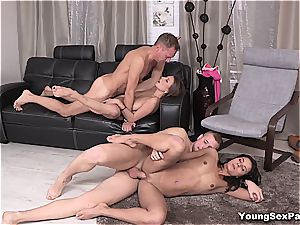 wondrous young Russians having four-way