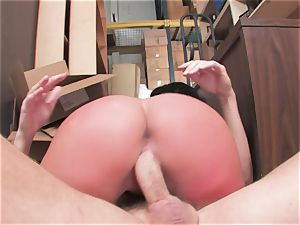 chesty mega-slut Kerry Louise gets slammed rock-hard and earns a ginormous flow of super hot cum