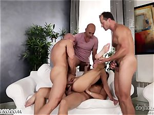 Mass group sex with a youthfull biotch and 4 dudes