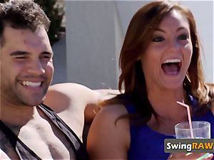 Exhilirated wife takes off down for hot make-out by the pool