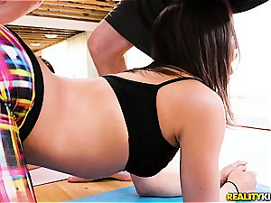 Abella and Mandy are tricked gang smashing is a yoga thing