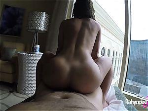 Rahyndee pleasuring fuckpole in Las Vegas motel point of view