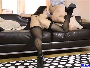 Glam eurobabe blows and rails senior mans beef whistle