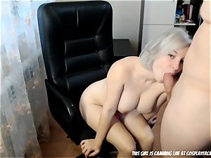The ash-blonde little hoe deep-throating...
