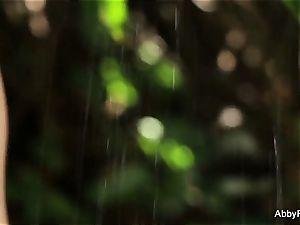 buxomy dark-haired Abigail Mac takes a shower