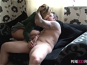 Skanky stepdaughter shagged by father