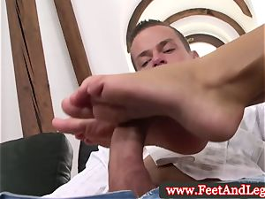 Victoria Blaze uses feet for footjob for fortunate dude
