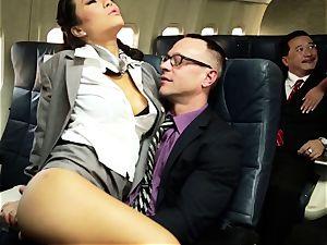 Asa Akira and her hostess pals shag on flight
